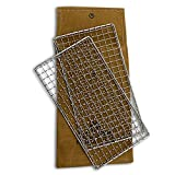 HellFire Bushcraft Grill Stainless Steel Campfire Cooking Grate (2-Pack) Portable Camping Grate for Fire Cooking BBQ - Canvas Carrying Bag - Welded Mesh Grill Grate - Backpacking, Camping, Hiking