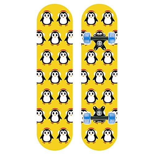 Adultos Completo Skateboard para Principiantes,Ruedas con Luz LED,para Skateboard para Hombres Y Mujeres Jóvenes Niños (Color : Penguin)