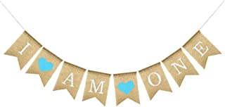 Uniwish I am One Banner Burlap Sign for Baby Boy First Birthday Party Decorations, Rustic Bunting with Blue Hearts