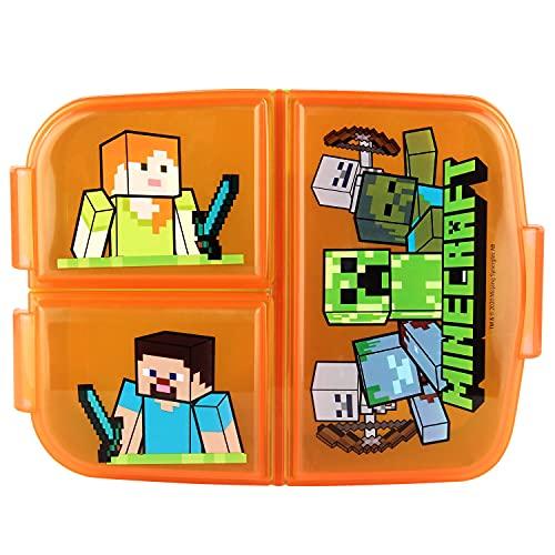 P:os 33168 – broodtrommel voor jongens en meisjes met Minecraft motief en 3 vakken met clipsluiting, ca. 14 x 18,5 x 5,5…