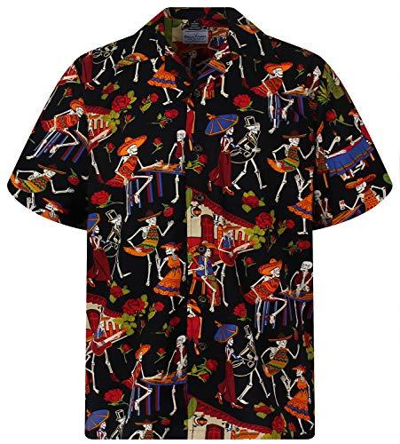 D.C. Original Camisa Hawaiana, Skeleton, negro L