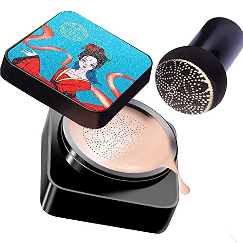 Mushroomhead Air Cushion CC Cream Brightening Skin Tone Moisturizing Dry Face Foundation Makeup Full Coverage Pores ,Anti-aging BB Nude Color with Applicator (#01 Natural air cc cream)