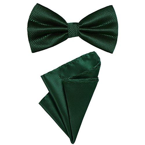 DonDon 2er Set Herren Fliege und Einstecktuch farblich passend gebunden und größenverstellbar dunkelgrün
