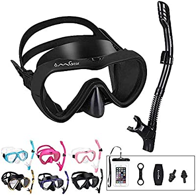 OMGear Snorkel Set Snorkeling Gear Package Diving Set Premium Silicone Dive Goggles Snorkel Equipment Goggles Neoprene Mask Strap Scuba Diving Freediving Spearfishing Swimming (Black-one)