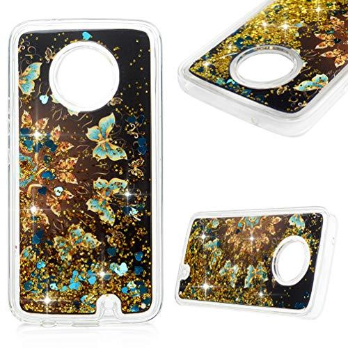 Kompatibel mit Motorola Moto X4 Hülle Hülle Handyhülle Stoßfest Transparent Tasche 3D Glitter Dynamisch Treibsand Durchsichtige Schutzhülle TPU Silikon Backcover Schwarzer Blauer Schmetterling