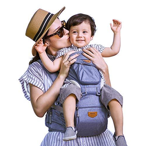 SUNVENO Babytrage Ergonomisch,Baby Carrier mit Abnehmbarer Kapuze, Hüftsitz baby mit Speicheltuch, 3in1 Babybauchtragen für Baby 0-36 Monate, Blau