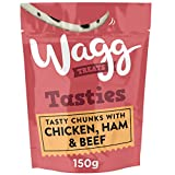 Wagg Tasty Chunks Dog Treats with Chicken, Ham and Beef 150 g, Pack of 7