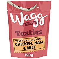 Meaty square shaped chunks with chicken, ham & beef Tasty chunks enriched with vitamins & minerals A complementary pet food ideal for a tasty treat Oven baked to lock in nutrition & flavour Suitable for dogs from 8 weeks old