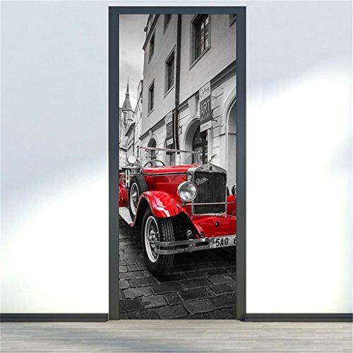 YHKQS Pâte de Porte 3D Style européen Prague Carré Modélisme de Voiture Salon Portes en Bois Rénovation créative Imperméable Auto-adhésive Colle de Porte