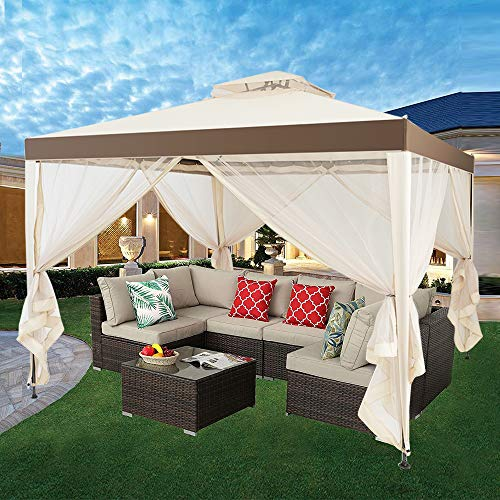 C-CHAIN Outdoor 10' x 10' Gazebo Tent with Mosquito Netting for Garden Lawn Patio House Yard Beach Home Patio Garden Structures Gazebos, Easy Setup (Beige)