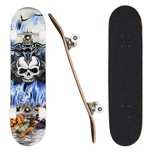 "Skateboard, 31"" x 8"" Complete PRO Skateboard, 9 Layer Canadian Maple Wood Double Kick Tricks Skate Board Concave Design for Beginner,Gift for Kids Boys Girls Youths (5 - Skull Head)"