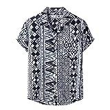 Spritumn-Home Camisa de Manga Corta Hombre T Shirt Hawaiano de Manga Corta con Cuello en V Estampado Flores Camiseta Casual de Verano Barato