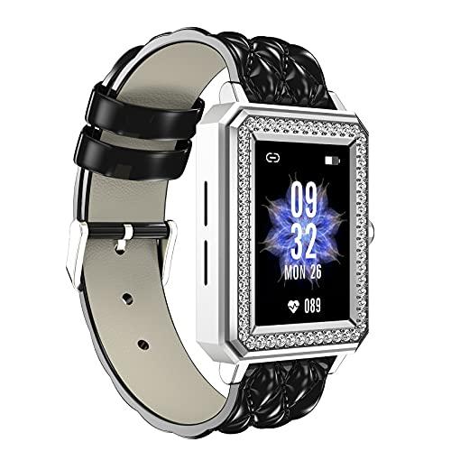 QFSLR Smartwatch Reloj Inteligente Mujer con Ciclo Menstrual Femenino Monitor De Frecuencia Cardíaca Llamada Bluetooth Monitor De Presión Arterial Monitoreo De Oxígeno En Sangre,Negro