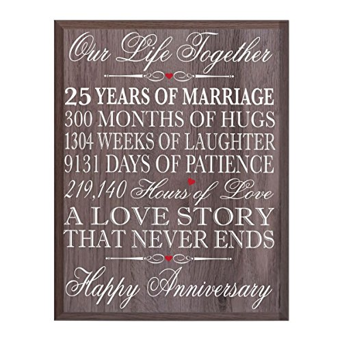 """LifeSong Milestones 25th Wedding Anniversary Wall Plaque Gifts for Couple, 25th for Her,25th Wedding Silver Ideas for Him 12"""" W X 15"""" H Wall Plaque (Salt Oak)"""