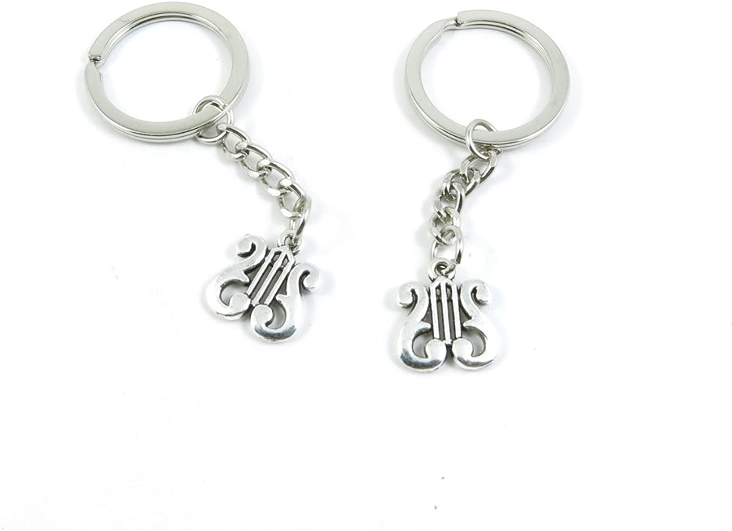 100 Pieces Keychain Keyring Door Car Key Chain Ring Tag Charms Bulk Supply Jewelry Making Clasp Findings B8BM2G Harp