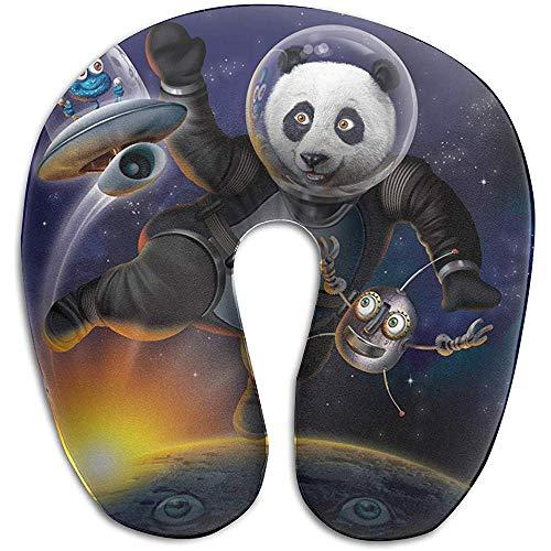 Neck Pillow,Space Panda Funny Alien Almohadas para El Cuello En Forma De U Suave Y Cómoda Cojín para Deporte Gym Athletic