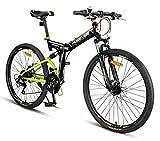 FEFCK Bicicleta De Montaña De 26 Pulgadas, A Campo Traviesa, Velocidad Variable, Bicicleta De Cola Blanda Plegable para Adultos, Unisex, Ultraligera Y Portátil De 24 Velocidades A