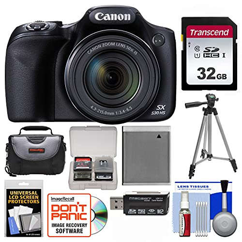 Canon PowerShot SX530 HS Wi-Fi Digital Camera with 32GB Card + Case + Battery + Tripod + Kit (Renewed)