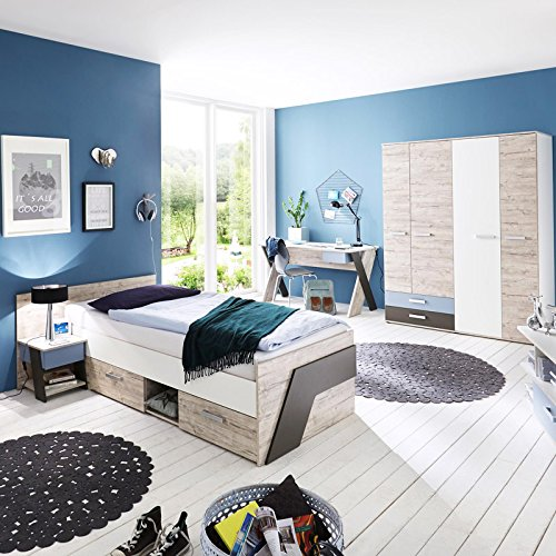 Jugendzimmer Set LEEDS-10 in Sandeiche Nb. / weiß/Lava/Denim - Made in Germany