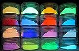 PRESTIGE GLOW IN THE DARK Pigment Powder. Longest Lasting Glow in The Dark Powder. Recommended for All COLORLESS Medium. Ink. Paint. Plastic Resin. Glass. ETC. (32g (16 x 2g), Sample Pack)