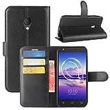 HualuBro Alcatel U5 HD Hülle, Leder Brieftasche Etui