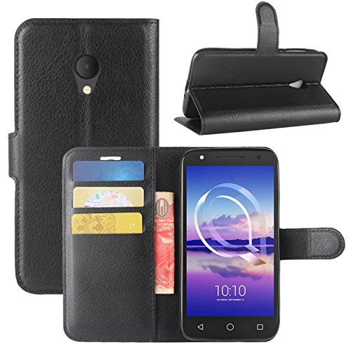 HualuBro Alcatel U5 HD Hülle, Leder Brieftasche Etui Tasche Schutzhülle HandyHülle [Standfunktion] Leather Wallet Flip Hülle Cover für Alcatel U5 HD (Schwarz)