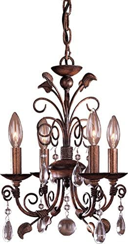 Minka Lavery Crystal Chandelier Lighting 3127 126 Mini Candle 4 Light 160 Watts Walnut product image