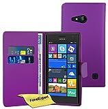 Nokia Lumia 730 735 Hülle, FoneExpert® Hülle Wallet Hülle Cover Hüllen Etui Ledertasche Premium Lederhülle Schutzhülle für Nokia Lumia 730 735 + Bildschirmschutzfolie (Wallet Lila)