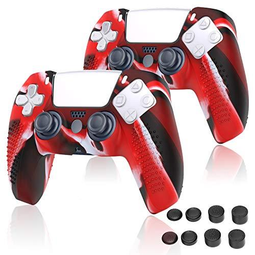 PS5 コントローラー カバー Sony Playstation 5 対応 シリコンケース コントローラー 保護アクセサリーセット コントローラー ケース プレイステーション5 保護カバー 耐衝撃 滑り止め 2個セット [レッド]