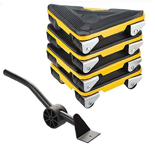 Kacniohen Möbel Lifter Mover-Werkzeug-Set Möbel Hubräder Durable mit 4 Stück bewegen Sliders für Sofas Couches Kühlschränke 5PCS Gelb