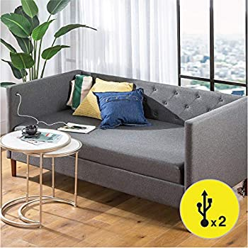 ZINUS Shalini Upholstered Daybed with USB Ports / Convertible Daybed Sofa / Matching Cover Included / No Box Spring Needed / Easy Assembly Twin