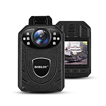 BOBLOV KJ21 Body Camera 1296P Body Wearable Camera Support Memory Expand Max 128G 8-10Hours Recording Police Body Camera Lightweight and Portable Easy to Operate Clear NightVision  Card not Included
