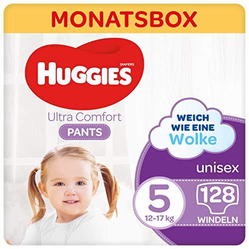 Huggies Ultra Comfort Pants Größe 5, 12 bis 17 kg, Für aktive Kinder, Mit Nässeindikator und Wolken-Taillenbündchen-Technologie, 128 Windeln, Monatsbox, Monatspack, Großpackung