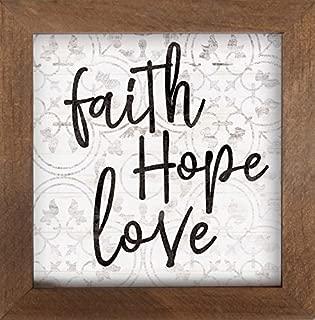 P. Graham Dunn Faith Hope Love Quatrefoil Clover 7 x 7 Inch Pine Wood Framed Wall Art Plaque