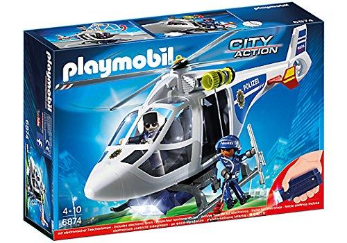 PLAYMOBIL City Action 6874 - Helicóptero de policía con luz LED (4 años)