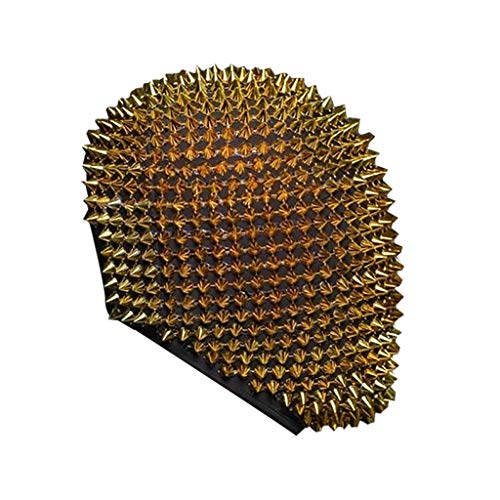 Studded Spikes Full Face_Mask for Men Women, Punk Rivet Face_Mask, Spiked Fashion Face_Mask, Durian Face_Mask, Scary Face Covering for Halloween Cosplay Funny (Gold, 1PC)