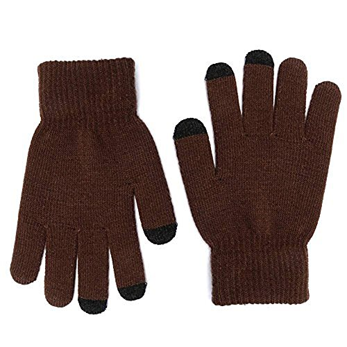 MPHABON Touch screen gloves winter men and women knitted warm gloves (Brown)