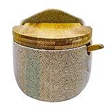New Home Salero de cerámica con Tapa de bambú