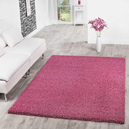 T&T Design Alfombra Shaggy Pelo Largo Moderna Lisa Monocolor Rosa Fucsia Precio Inmejorable, Größe:120x170 cm