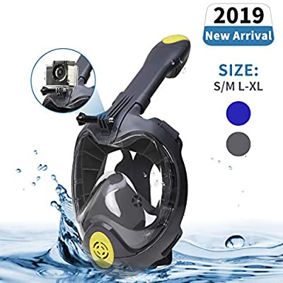 Unizooke Snorkel Mask Full Face 180 Panoramic Snorkeling Packages for Natural Breath & Safe Snorkeling Anti Leak Anti Fog Diving Mask Dry Snorkel Set (Gray, X-L)