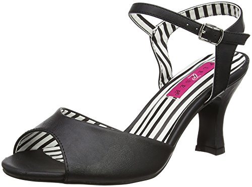 Pleaser Pink Label Jenna-09, Damen Sandalen mit Absatz, Black (Blk Faux Leather), 45 EU