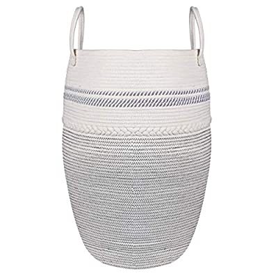 STARDEN Laundry Hamper Woven Cotton Rope 25.6&#...
