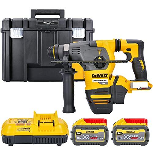 Dewalt DCH333 54v Flexvolt SDS+ Hammer Drill + 2 x 9Ah Batteries, Charger & Case