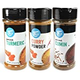 Amazon Brand - Happy Belly Indian Curry Spices Set: Curry Powder, Turmeric, Cumin