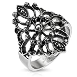 Doublebeez Jewelry Stainless Steel Large Ornamental Filigree Ring, Size 9