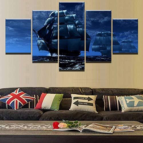 KGKBH 5 quadri su tela modulari quadri da parete HD stampe barca 5 pezzi tela paesaggio decorazione casa ristorante arte poster