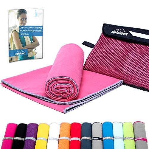 Mikrofaser Handtuch Set - Microfaser Handtücher für Sauna, Fitness, Sport I Strandtuch, Sporthandtuch I 1x XS(50x30cm) ohne Tasche I Fuchsia