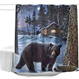 Colorful Star Nature Forest Black Bear Winter Shower Curtains Set for Bathroom Polyester Fabric Machine Washable Waterproof Decorative Bath Curtains with Hooks 60' W x 72' L