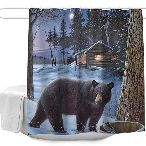 """Colorful Star Nature Forest Black Bear Winter Shower Curtains Set for Bathroom Polyester Fabric Machine Washable Waterproof Decorative Bath Curtains with Hooks 72"""" W x 72"""" L"""