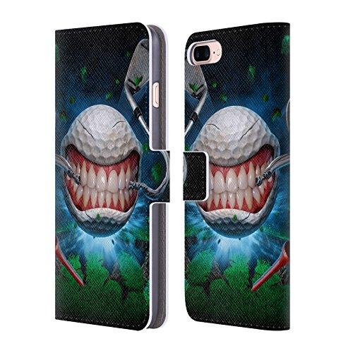 Head Case Designs Oficial Tom Wood Pelota de Golf Monstruos Carcasa de Cuero Tipo Libro Compatible con Apple iPhone 7 Plus/iPhone 8 Plus